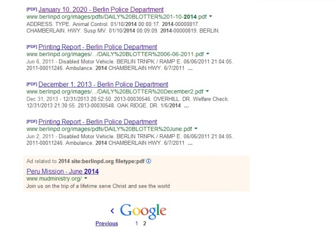 The last page of the search results had three documents that were irrelevant. I needed something more that a search engine to get all this data.